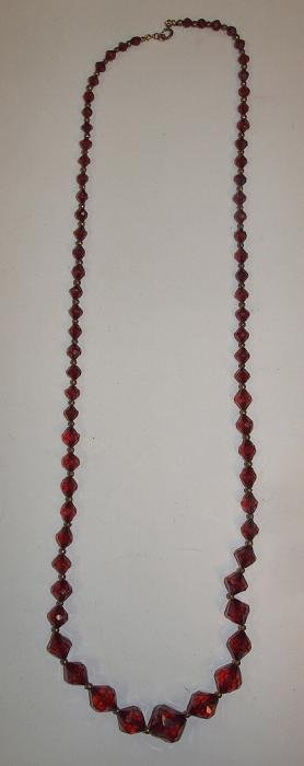 """Amber graduated beaded necklace, 21"""""""