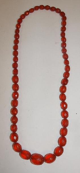 """Amber graduated beaded necklace, 13"""""""