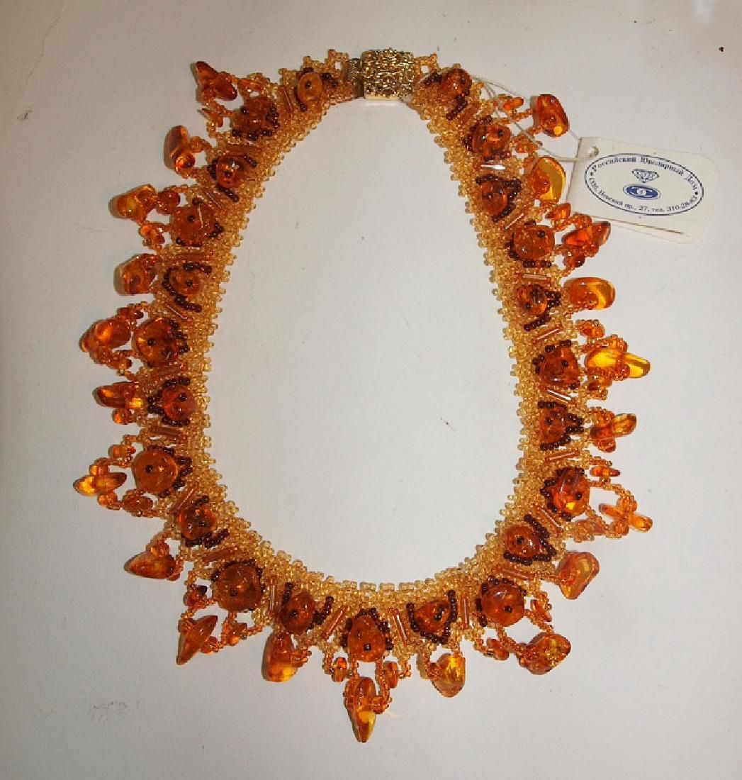 """Amber beaded necklace, 15"""""""