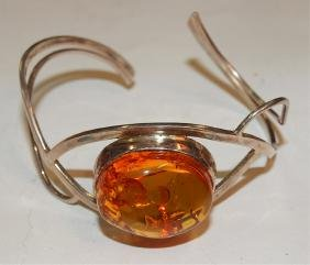 Amber and sterling silver cuff bracelet
