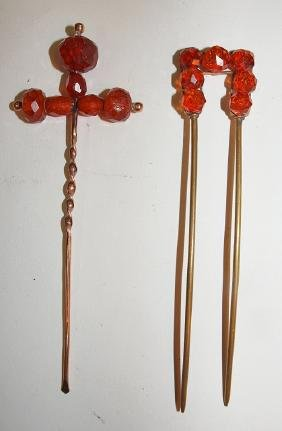 Victorian amber and gold filled lot of 2 hair pieces