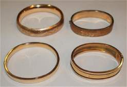 Victorian gold filled lot of 4 hinged bracelets