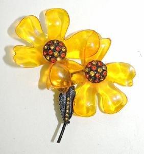 Bakelite floral brooch