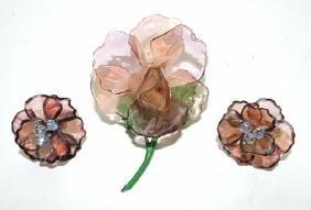 Bakelite amethyst floral brooch & matching earrings