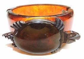RARE bakelite hinged tortoise shell bangle bracelet