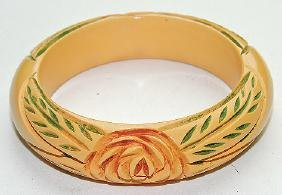 Bakelite ivory floral carved bangle bracelet