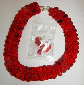 Coral necklace and earrings with sterling clasp