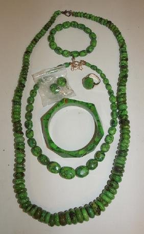 Green copper turquoise jewelry lot: 2-necklaces,