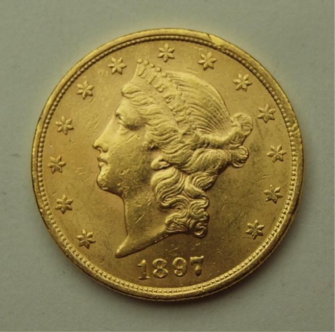 1897 $20 Liberty US gold coin, BU