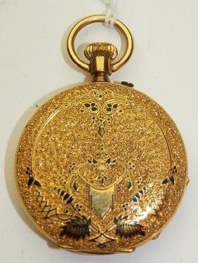 Perret 18k gold enameled hunter's case pocket watch,