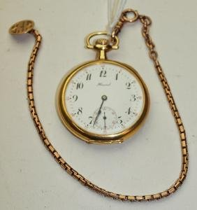 Howard 18k gold 12s open face pocket watch with gold