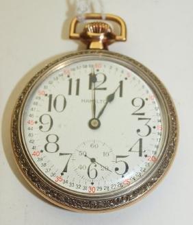 Hamilton railroad #972 o.f. 17j, 16s, pocket watch two