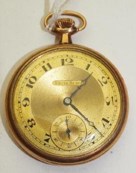 South Bend #924, 12s, 19j, o.f. pocket watch, some wear