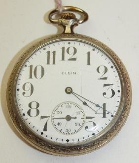Elgin 7j, 16s, o.f. pocket watch, runs