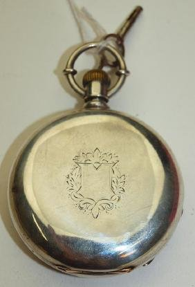 Rockford 18s, 7j, key wind o.f. pocket watch with coin