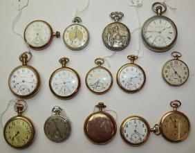 Lot of 14 pocket watches: Hamilton, Illinois, Marlboro,