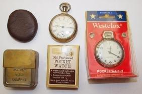Waltham watch case, leather watch case, Sears pocket