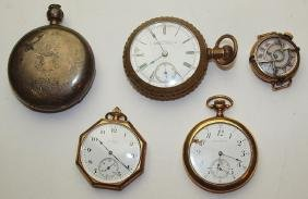 Lot of 5 pocket watches: Elgin, Waltham, & others