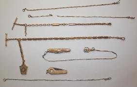 Lot of 6 watch chains, fobs, & cigar cutter