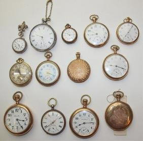lot of 13 pocket watches: Rockford, Elgin, South Bend,