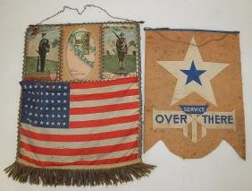Lot of 2 WWI military related banners