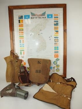 Stars and Stripes map of the war, gas mask, canteen, 2