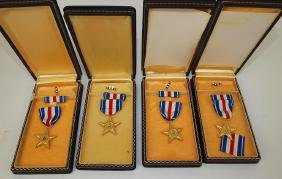 US Military lot of 4 silver star medals with cases