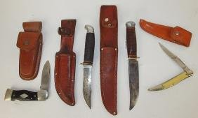 Lot of 4 knives-Western #5-531 folding knife with elk