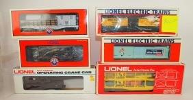 Lionel lot of 6 cars: NYC 4 wheel crane car 6-6579,