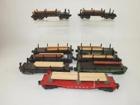 Lionel lot of 9 flat bed train cars