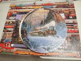 Lot of 31 train picture puzzles mpounted on wood and 5