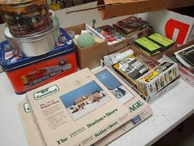 Large lot of train accessories, books, posters, paints,