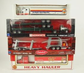 Lot of 4 die cst semi trucks & trailers