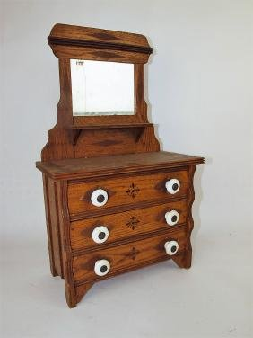 Oak childs dresser with mirror and white porcelain