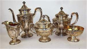 Towle sterling silver 5 piece tea set with coffee pot,
