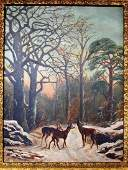 Primitive o/c painting with three deer on mountain