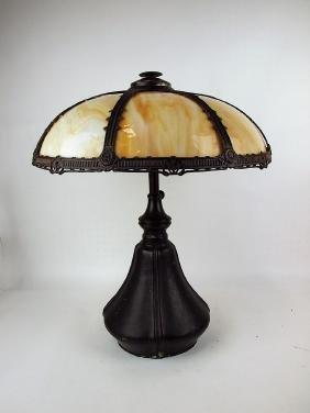 Bradley & Hubbard panel glass table lamp, adjustable,