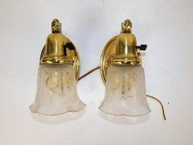 Pair of brass wall sconce lights