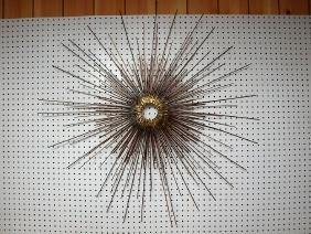 Mid century modern brass and copper star burst wall