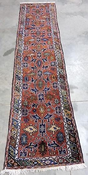 """Estate Oriental rug Turkish runner 10'11"""" x 2'9"""", some"""