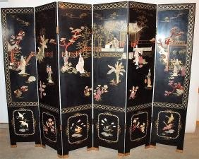 Black laquered Oriental 6 panel dressing screen with