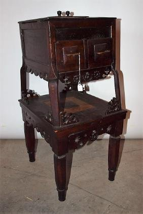 """Chinese table on table Oriental sewing box, 29""""h"""