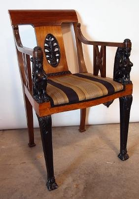 Egyptian Revival arm chair with carved lady arms and