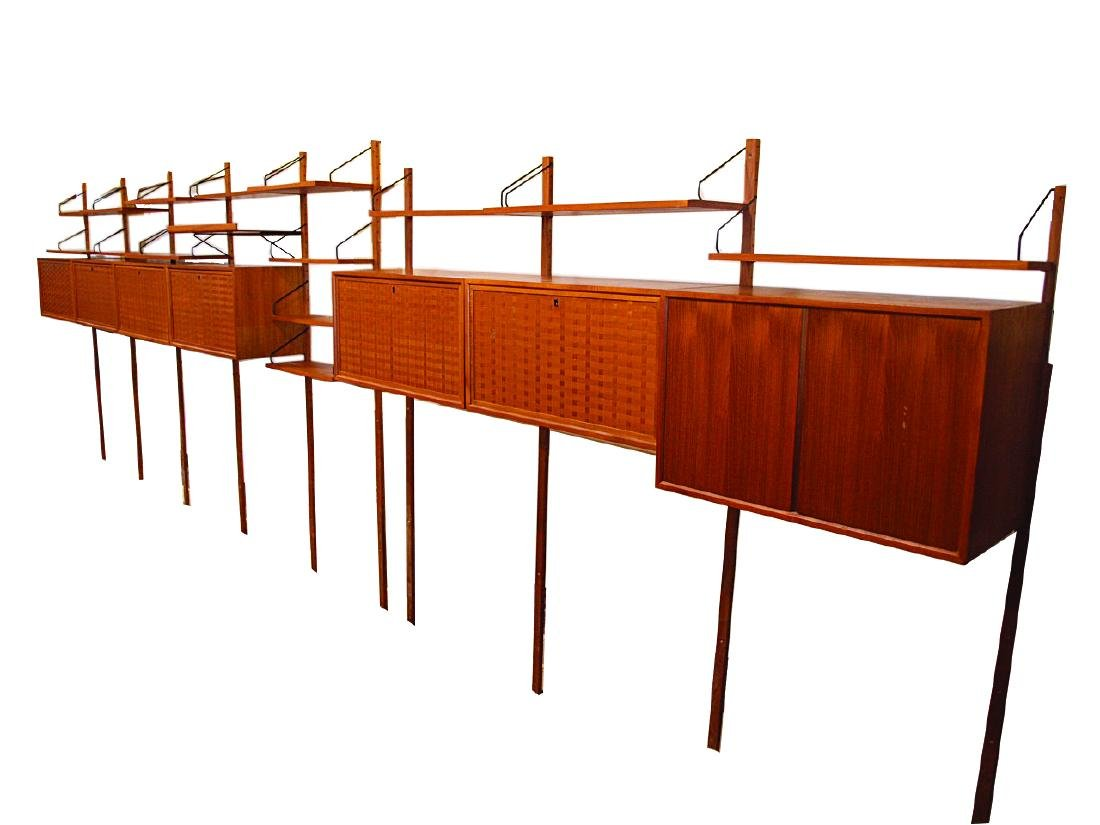 Poul Cadovius Danish Cado wall system with 7 cabinets: