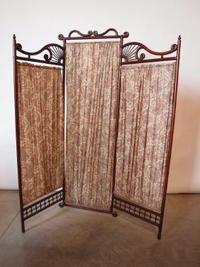 Victorian stick & ball three panel dressing screen
