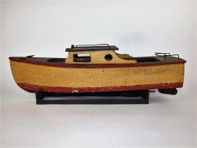 Early wood and tin steam powered tug boat (no engine)