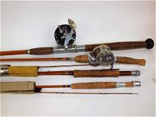 Lot of 3 bamboo fishing rods: 2-Shakespeare, 1-Oruis,