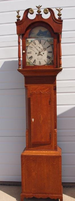 "English oak tall case grandfather clock ""Corthorn"