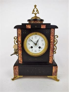 French marble mantle clock, 15""