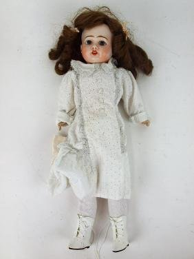 French bisque head doll with paperweight eyes, French